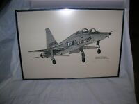 Vintage Pen and Ink Drawing Framed, signed and number of a Northrup T38 Talon