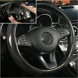 PU Leather Car Steering Wheel Cover Non-slip Black Fit For 38cm Steering Wheel