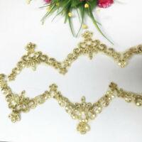 1yd Gold Pailletten Spitze Blume Bänder Applique Trim DIY Hochzeit Kleidung Deko