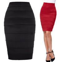 New Womens Stretch Ladies Wiggle Pencil Tube Bodycon Plain Office Midi Skirt