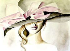 Hat Bow Pink Sexy Glam Poster Art Fashion Couture Illustration