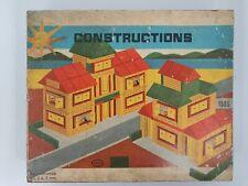 Coffret jeu de CONSTRUCTIONS en bois Made in France années 50