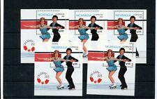 NICARAGUA 1988 Ice Skating MNH Mini Sheets x 5 (Bat 382
