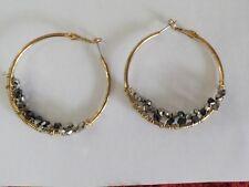 """2"""" hoop earrings with black beads  (JQ)"""