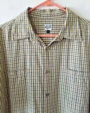 Fox Head Racing Shirt Plaid Check Button Front Short Sleeve Men's Size Large