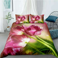 Great Beautiful Pink Flowers 3D Quilt Duvet Doona Cover Set Pillow case Print