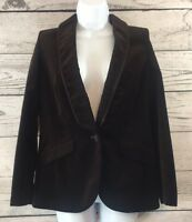 Ann Taylor LOFT Size 4 Dark Brown Velvet Blazer Jacket One Button Women's Lined