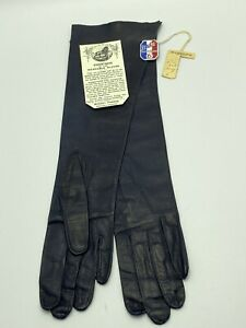 "Vintage French14"" Bonnet Freres Grenoble Leather Gloves Navy Size 6 RARE!"