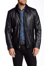 Andrew Marc New York MacDougal Men's Black Leather Shirt Collar Jacket Coat L