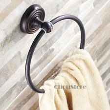 Black Brass Bathroom Round Hand Towel Ring Rack Holder Wall Mounted Hanger ORB