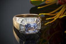 Schmuck Kunstvoller Ring mit hellem Saphir & Baguette Diamanten in 750er Rotgold