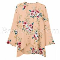 Women Floral Sheer Kimono Cardigan Cape Chiffon Long Sleeve Cover Up Blouse Tops
