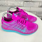 Nike Womens Free 4.0 Flyknit 631050-501 Pink Lace Up Running Shoes Size US 8.5