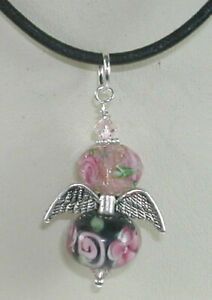 ARTISAN Angel Lampwork and Crystal Pendant on Leather Necklace