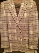 Brown/Cream/Grey Plaid Sport Coat Size 44L *100% Donation 2 cure K9 Cancer