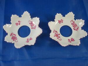 2x Meissen Tropfenfänger Manschetten für Kerzenleuchter Indisch Purpur 2. Wahl