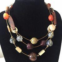 M&S Gold Tone Triple Strand Multi Colour Chunky Bead Necklace Boho Ethnic