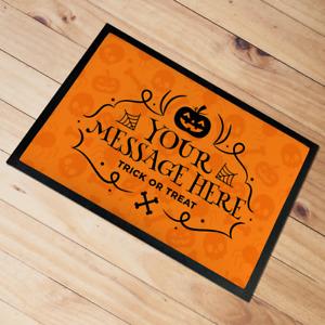 Personalised Halloween Door Mat floor mat Orange Pumpkin 60 x 40 cm Add Any text