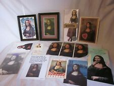 Mona Lisa reproduction print framed misc lot postcard card ephemera paper button