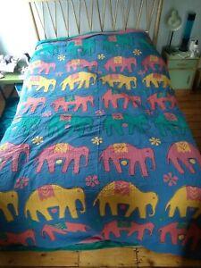 "Anokhi Elephant Indian XL Throw Bedspread 80 ""104 "" Hand Sewn Print Hippy Bright"