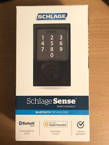 NEW Schlage Century Matte Black Sense Smart Door Lock Deadbolt BE479AAVCEN622