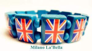 3 PCS UK British Flag Union Jack  Elastic Stretch Wooden Bracelet GIFT PARTY