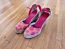 "Enzo Angiolini pink&orange espadrilles, ankle wrap, size US 7, heel is 4"""