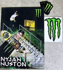 Monster Energy poster Nyjah Huston skateboarder & 6 claw stickers