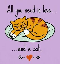 All you need is Love and a Cat T-Shirt Medium Orchid