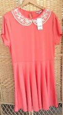 PEACOCKS Size 20 Coral skater Dress Peter Pan Collar BNWT Embroidered lace Ivory