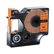 1pk Black On Orange 18435 Vinyl Label Tape 12mm For Dymo Rhino 5000 5200 6000