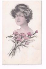 Antique db artist signed Schlesinger Post Card Pretty Lady & Pink Carnations