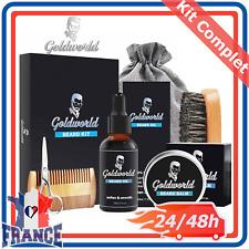 Kit Entretien Complet Soin de Barbe pour Homme Huile Brosse Peigne Baume Ciseaux
