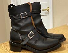 HARLEY DAVIDSON Women's Black Leather BOULEVARD Biker BOOTS Sz 7.5 Buckles ITALY