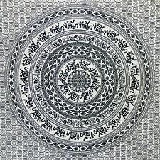 Tagesdecke Elefanten Mandala schwarz weiß 230 x 200 cm Überwurf Vorhang Decke