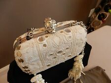 $3,895 New ALEXANDER MCQUEEN Embroidered Crystal Skull Box Clutch Tassel Bag