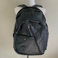 Black Leather Faux Leather Backpack