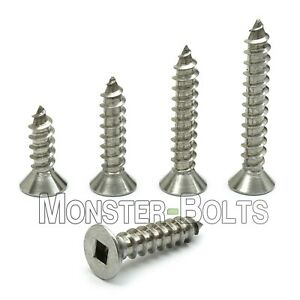 #8 Stainless Steel Square Flat Head Self-Tapping Type A Sheet Metal Screws 18-8