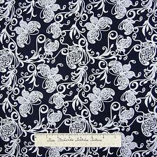 Country Fabric - Indigo Blues Butterfly & Vine Dark Blue - Henry Glass YARD