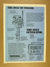 1977 Honda B-75 Outboard Motor & EM-400 Generator tech drawings vintage print Ad