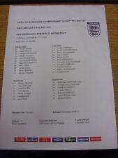 Colore 11/10/2005 teamsheet: Inghilterra U21 V Polonia U21 [ AT Sheffield Wednesday ] (