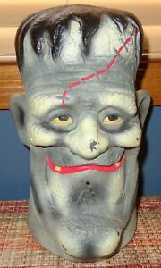 "RARE VINTAGE BIG 11"" GREY PLASTIC BLOW MOLD HALLOWEEN FRANKENSTEIN MONSTER HEAD"