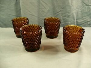 Lot of 4 Amber Glass Hobnail Votive Candle Toothpick Holders