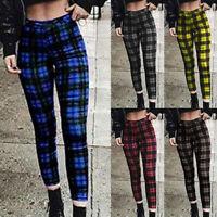 Womens Retro Plaid Print High Waist Pants Ladies Punk Gothic Slim Check Trousers