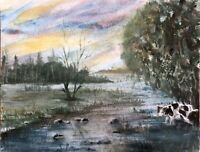 """ORIGINAL WATERCOLOUR ON BOARD PAINTING OF """"DOG PISSING ON A TREE"""" SIGNED"""