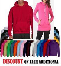 Mens Womens True Face Fleece Plain Hoodie Sweatshirt Hooded no Zipper Jumper Top