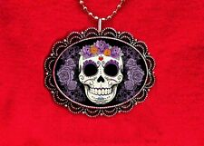 SUGAR SKULL MUERTOS DAY OF THE DEAD TATTOO NECKLACE