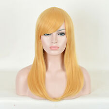 Golden Straight women remy Fashion Style hair stretch Mesh Long Wig blonde wigs