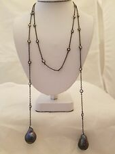 37 INCH BLACK CHAIN LARIAT NECKLACE WITH CRYSTALS WITH BAROQUE PEARL ENDS