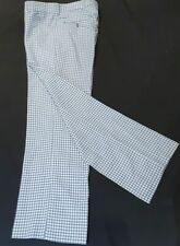 """Checked Golf Pants, Flares,1970's, polyester, light blue/ cream, size 34"""""""